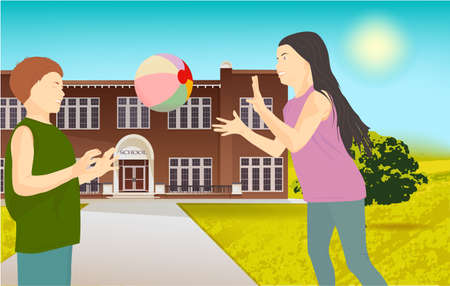 Children playing with a ball in the park, on nature, outdoors. Illustration of school building Stock Photo