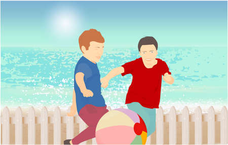 Children playing with a ball, fence. Sandy beach under the bright sun Stock Photo