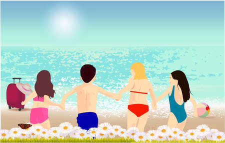Illustration of kids running on the beach. Sandy beach under the bright sun with suitcase, hat, ball, grass, flowers and butterfly