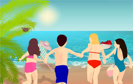Illustration of kids running on the beach. Sandy beach under the bright sun with beach chair, hat, ball, boat, palm and butterfly