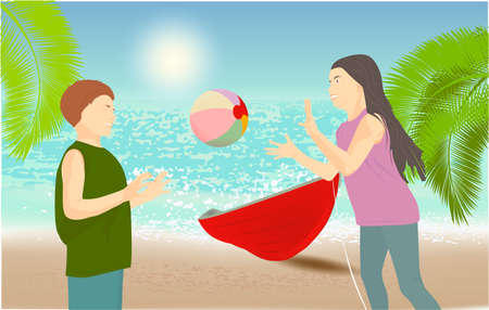 Children playing with a ball. Sandy beach under the bright sun with a boat and a palm