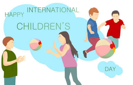 Happy International Children's Day banner with text. Children playing with a ball on a blue background