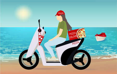 Girl riding scooter. Delivery food pizza service poster background template with female character on motorcycle delivering packages box, beach view, red boat. Transportation company promo design