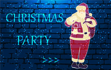 Neon sign, christmas party with Santa Claus. Bright night neon sign board on brick wall background with backlight.Ready for your design, greeting card, banner. Neon glowing arrow pointer