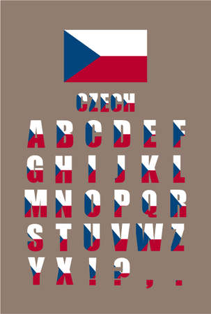 Vector alphabet letters with Czech flag on gray background design