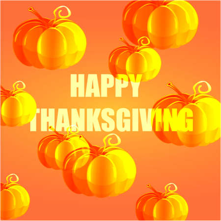 Happy thanksgiving banner with pumpkins and text on an orange background holiday