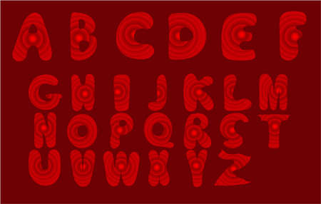 Vector Alphabet. Lettering and Custom Typography for Designers for Poster, Invitation, etc. Letters with red abstract geometric background