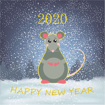 Happy New Year banner with winter background with rat, trees and snow holiday