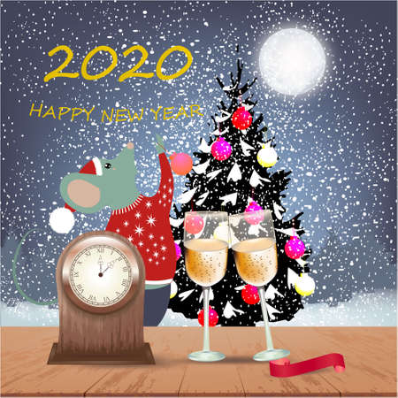 Happy New Year banner with winter background with Christmas tree, big moon, Christmas balls, table clock, champagne glasses and ribbon on a wooden table, trees, snow and rat