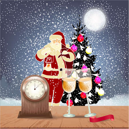 Greeting card with winter background with Christmas tree, big moon, Christmas balls, table clock, champagne glasses and ribbon on a wooden table, Santa, trees and snow Stock fotó