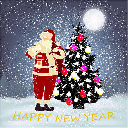 Happy New Year banner with winter background with Christmas tree, big moon, Christmas balls, Santa, trees and snow Stock fotó