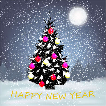 Happy New Year with winter background with Christmas tree, big moon, Christmas balls and snow