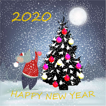 Happy New Year banner with winter background with Christmas tree, big moon, Christmas balls, rat, trees and snow