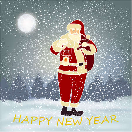 Happy New Year banner with winter background with Santa, big moon and snow