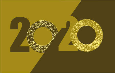 Greeting card 2020, design on abstract background with gold glitter Archivio Fotografico