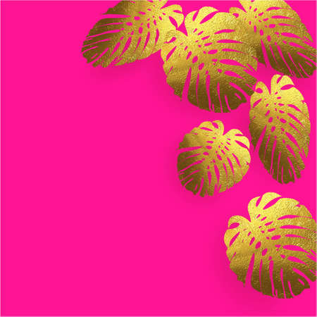 Banner with golden leaves on a plastic pink background design