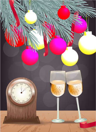 Banner with Pine branch, Christmas balls, table clock, champagne glasses and ribbon on a wooden table on a dark background