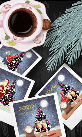 Banner with Polaroids with Christmas design, cup of coffee, candies and pine branch on a wooden table