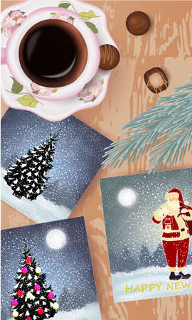 Banner with Polaroids with Christmas illustrations, cup of coffee, candies and pine branch on a wooden table
