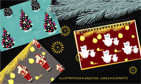 Banner with notepad with Christmas design, pine branch, Christmas greeting cards, text on a dark background. Top view 写真素材