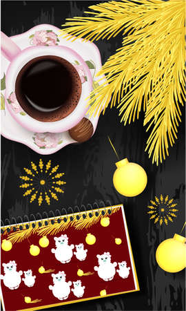 Banner with notepad with Christmas design, golden pine branch, Christmas balls, cup of coffee on a wooden table. Top view