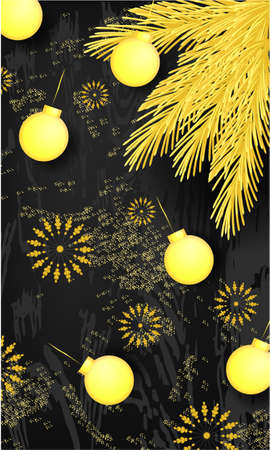 Banner with golden pine branch, Christmas balls, golden glitter on a dark background. Top view 写真素材