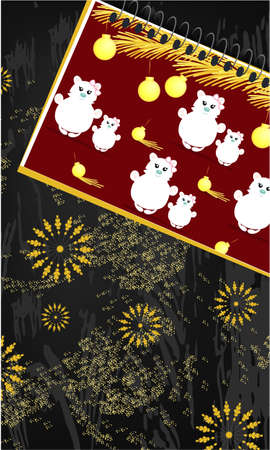 Banner with notepad with Christmas design, golden glitter on a dark background. Top view