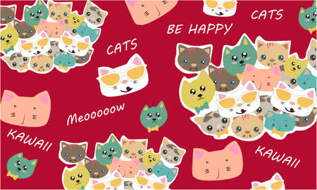 Vector pattern in Kawaii style with Kawaii Cat characters, text on a red background design