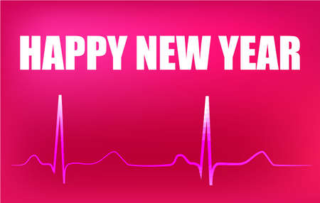 Happy New Year banner with text, heart rhythm on abstract background design