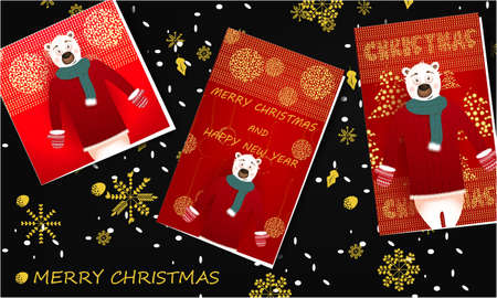 Merry Christmas banner with Christmas greeting cards with cute, funny bear, snowflakes on a dark background