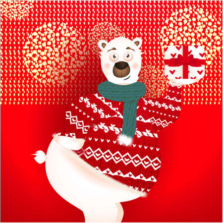 Christmas banner with cute, funny bear with present, golden glitter on a red background