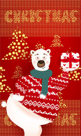 Christmas banner with cute, funny bear with present, Christmas Trees, golden glitter on a red background