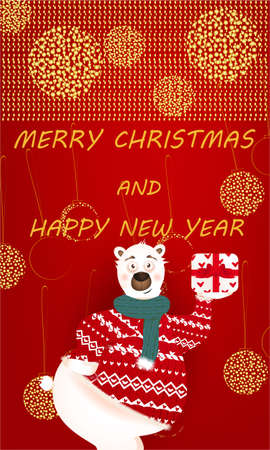 Merry Christmas banner with cute, funny bear with present, golden glitter on a red background Reklamní fotografie