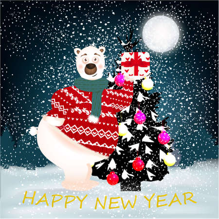Happy New Year banner with cute, funny bear with present, Christmas Tree and text, big moon on a winter background with snow