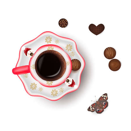 Cup of coffee with Christmas design, candies and butterfly on a white background
