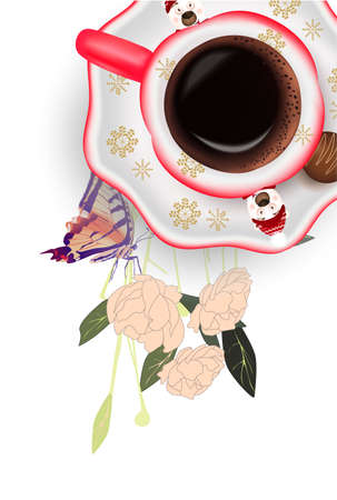 Cup of coffee, peonies, butterfly on a white background