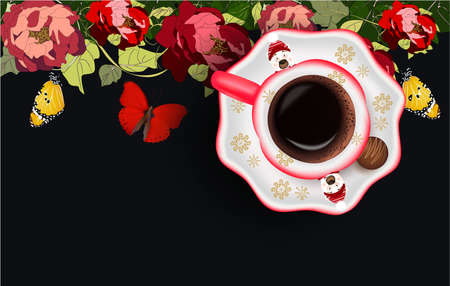 Cup of coffee and candy with Christmas design, peonies, butterfly on a dark background