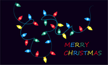 Merry Christmas banner with Christmas lights on a dark background design