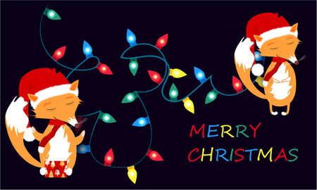 Merry Christmas banner with Christmas lights, cute fox on a dark background design