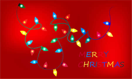 Merry Christmas banner with Christmas lights on abstract background design