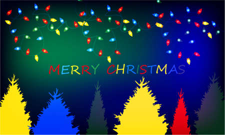 Merry Christmas banner with Christmas Tree and Christmas lights on abstract background design Stock Photo