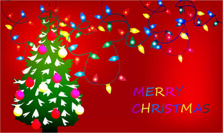 Merry Christmas banner with Christmas lights, Christmas Tree on abstract background design Stock Photo