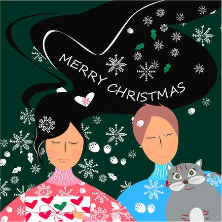 Merry Christmas banner with cute, funny cartoon cat, cute girl and boy, snowflakes on a green background