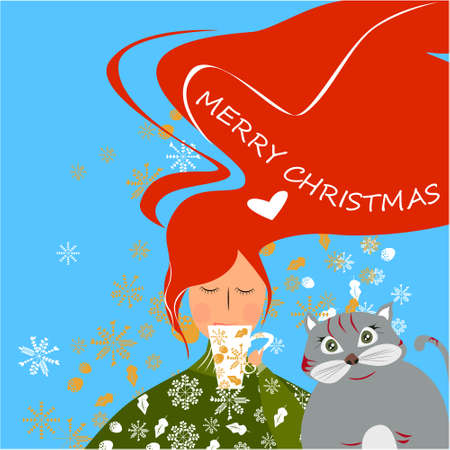 Merry Christmas banner with cute, funny cartoon cat, Girl with cup, golden snowflakes on a blue background