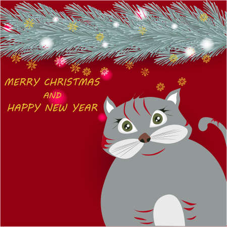 Merry Christmas banner with cute, funny cartoon cat, border of Christmas Tree Branches on a red background with golden snowflakes