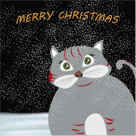 Merry Christmas banner with cute, funny cartoon cat on a winter background with snow