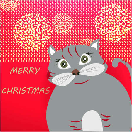 Merry Christmas banner with cute, funny cartoon cat, golden glitter on a red background Banco de Imagens