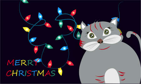 Merry Christmas banner with cute, funny cartoon cat, Christmas lights on a dark background Banco de Imagens