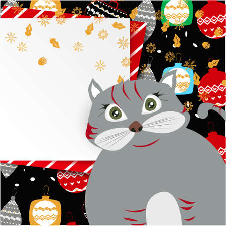 Christmas banner with cute, funny cartoon cat, Christmas balls, Greeting Card, golden snowflakes on a dark background
