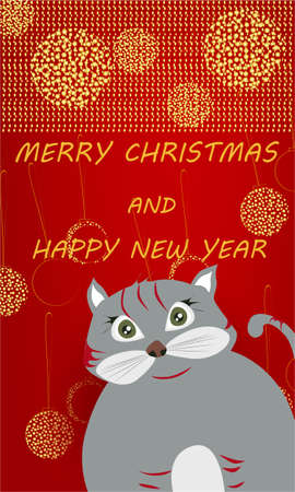 Merry Christmas banner with cute, funny cartoon cat, Christmas balls, golden glitter on a red background